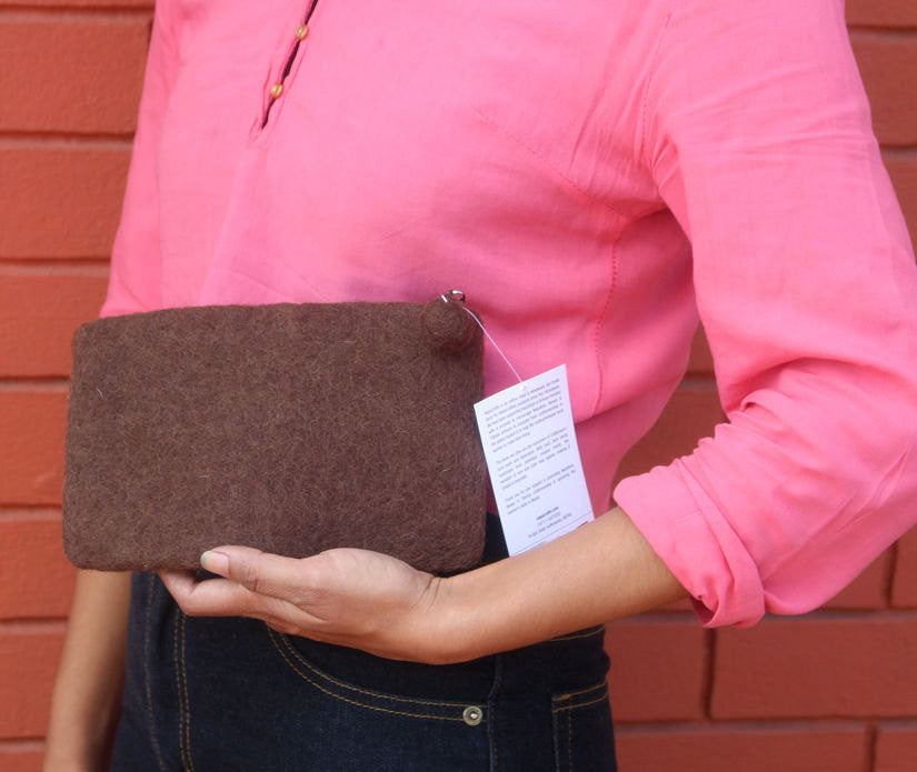 Brown Flower Felt Clutch Purse - nepacrafts