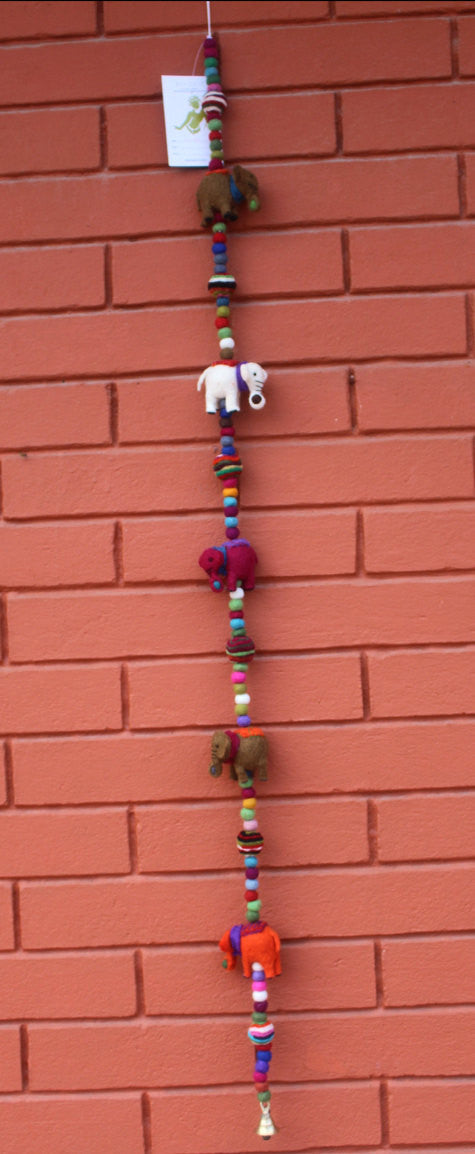 Colorful Elephant Bell Felt Hanging - nepacrafts