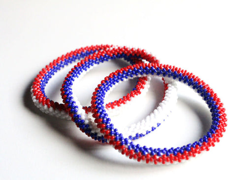 French Flag Roll On Bracelet - nepacrafts