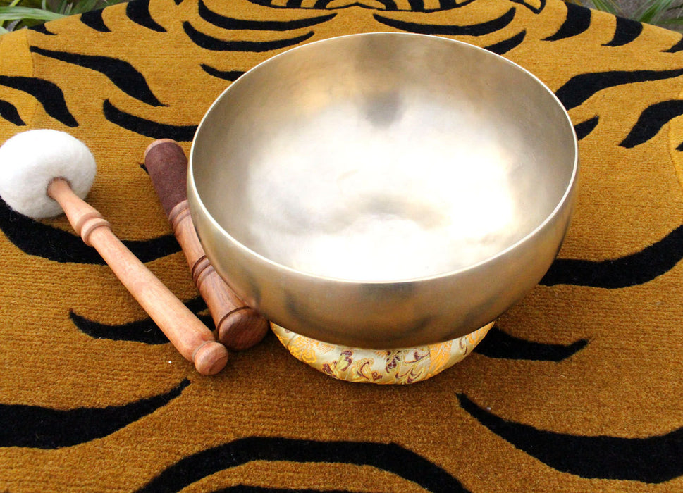 Hand Hammered Tibetan Healing Therapy Bowl with Mallet and Pillow - nepacrafts