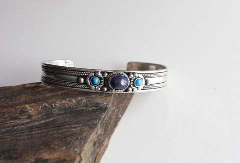 Traditional Silver plated Lapis Bracelet - NepaCrafts