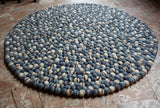 Blue Stone Pebble Felt Ball Rugs 90 cm