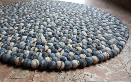 Blue Stone Pebble Felt Ball Rugs 90 cm - nepacrafts