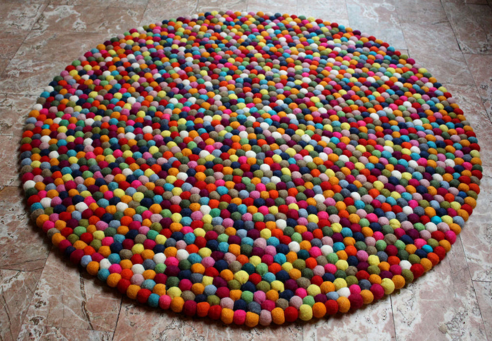 Multicolor Wool Felt Rug Carpet 100 cm - nepacrafts