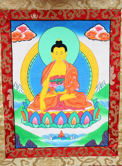 Silk Brocade Framed Shakyamuni Buddha Thangka - nepacrafts