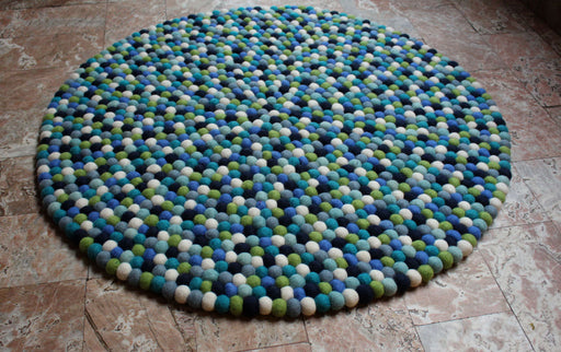 Blue Berry Felt Ball Rugs 90cm - nepacrafts