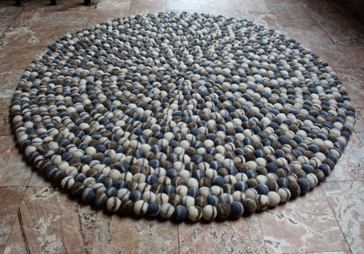 Natural Blue Pebble 90 cms Felt Ball Rugs - nepacrafts