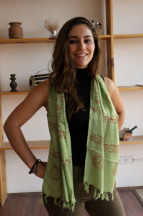 Mini Om Cotton Prayer Scarf - nepacrafts