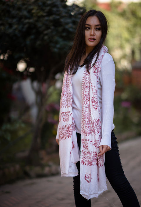 White Om Prayer Shawl - nepacrafts