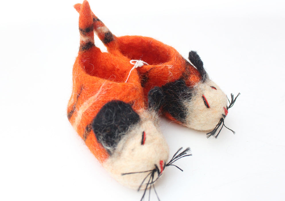 Orange Felt Kids Shoes - nepacrafts