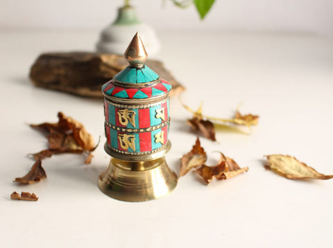 "2 Line Om Mani Mini Desktop Prayer Wheel 3.8"" inlaid with Resin Turquoise and Coral - nepacrafts - 1"