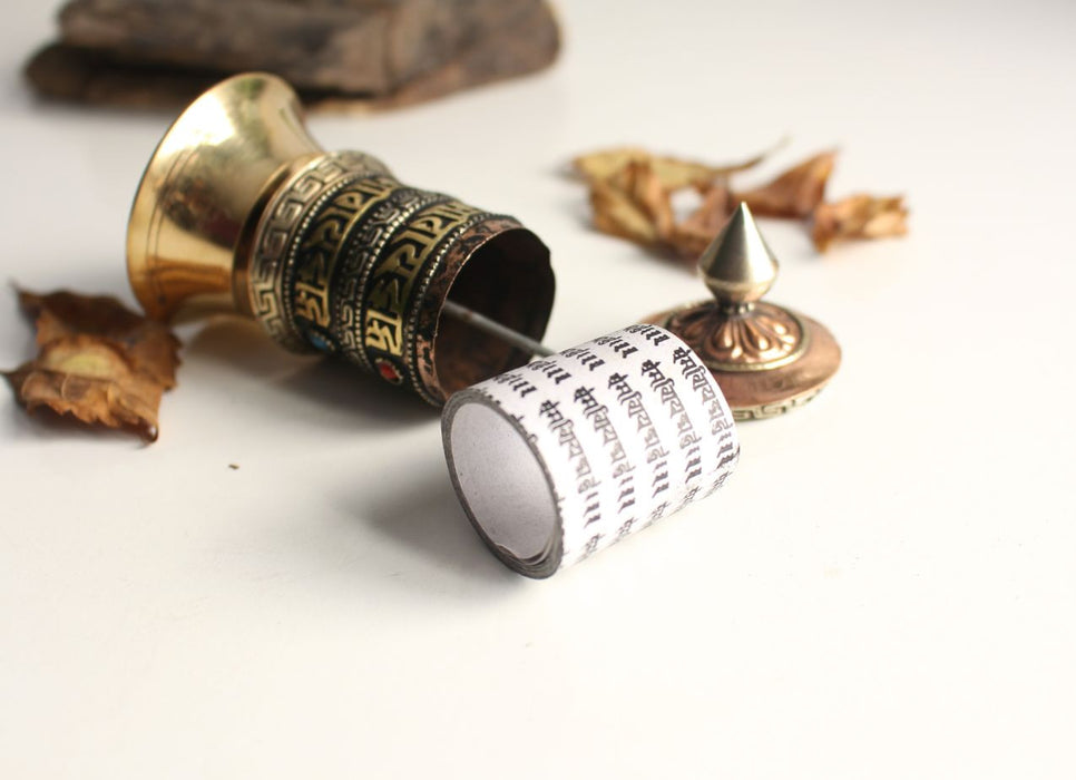 2 Line Om Mani Prayer Wheel 4 inch - nepacrafts