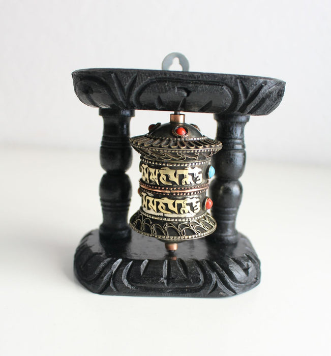Om Mani Prayer Wheel with Wooden Frame - nepacrafts