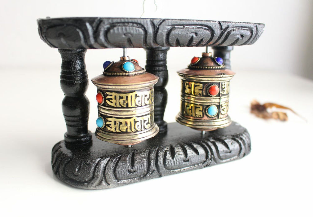 Copper Dual Prayer Wheel with Wooden Frame - nepacrafts