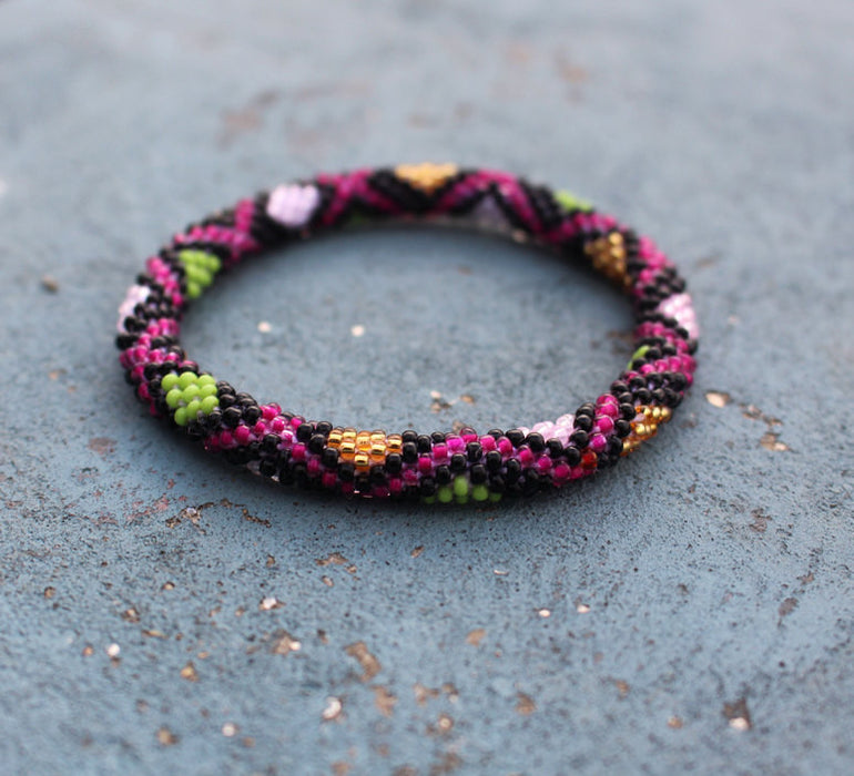 Sizzle In The Dark Roll Beads Bracelet - nepacrafts
