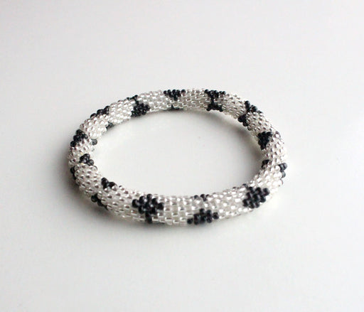 Black Silver Crocheted Roll On Bracelet - nepacrafts