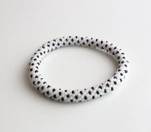 Black in White Roll Bracelet - nepacrafts