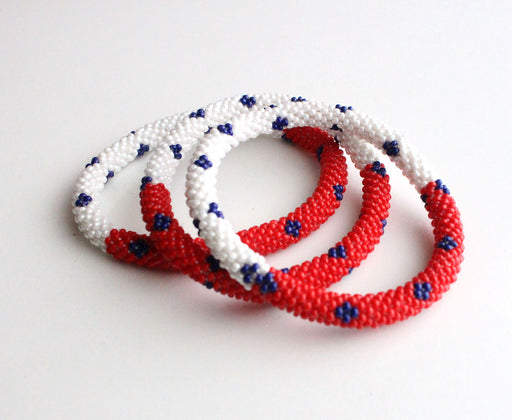 Red White Roll On Bracelet - nepacrafts