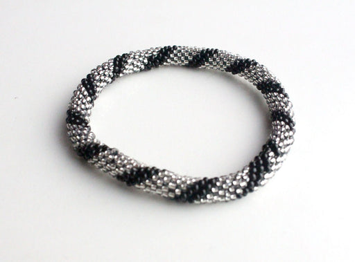 Black Silver Hand Crocheted Roll On Bracelet - nepacrafts