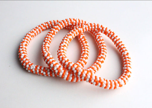 Jazzy Orange Roll Beads Bracelet - nepacrafts