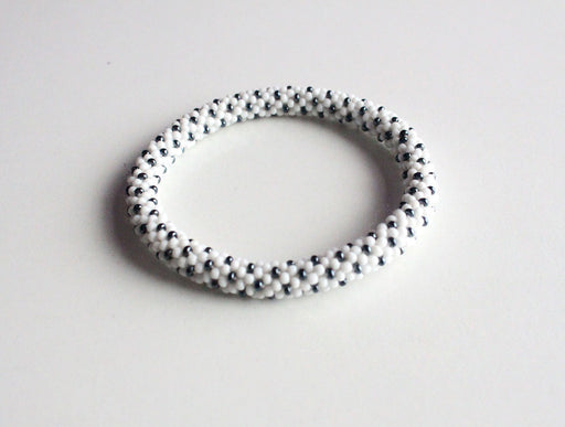 Black On White Beads Roll On Bracelet - nepacrafts