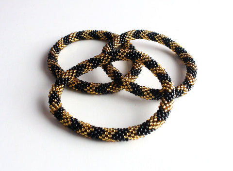 Gold and Black Beads Roll On Bracelet