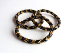 Gold and Black Beads Roll On Bracelet - NepaCrafts