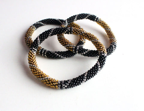 Gold Black Roll On Bracelet