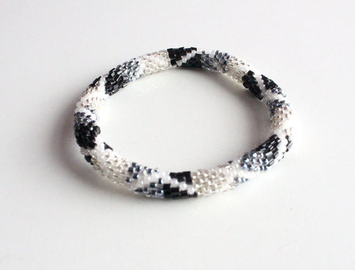Black & White Hand Crocheted Roll On Beads Bracelet - nepacrafts
