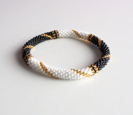 Gold Line B&W Roll On Bracelet - nepacrafts
