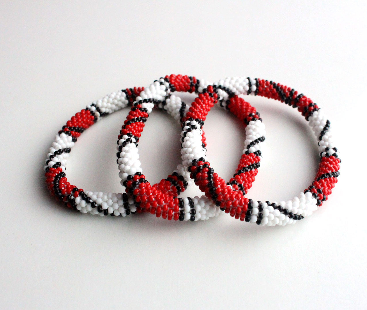 Red White Crocheted Roll On Bracelet - nepacrafts