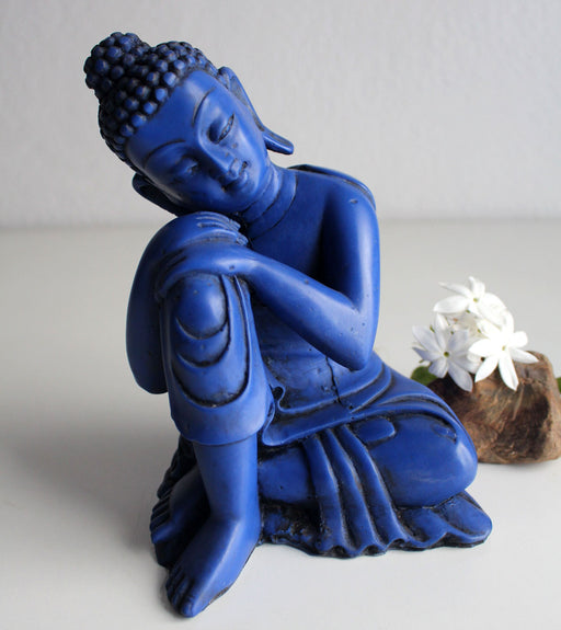 "Lapis toned Blue Color Statue of Resting Buddha 7.5"" High - nepacrafts"