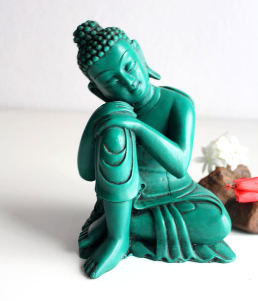 "Turquoise Toned Green Resin Statue of Resting Buddha 7.5"" High - nepacrafts"