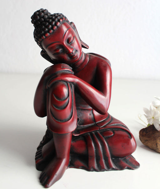 "Coral Toned Resin Statue of Resting Buddha 7.5"" High - nepacrafts"