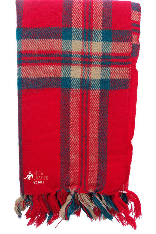 Check Yak Shawl Red - nepacrafts