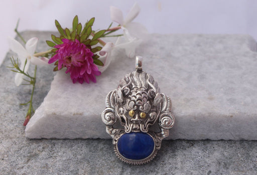 Dragon Head Lapis Lazuli Silver Sterling Pendant - nepacrafts