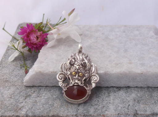 Sterling Silver Pendant with Carneol - nepacrafts