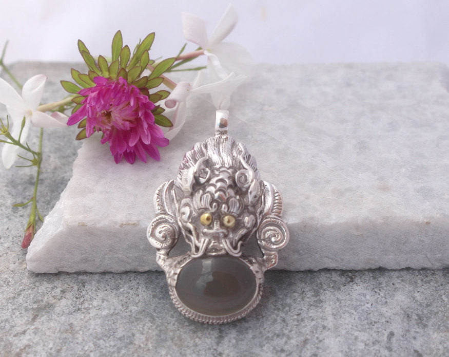 Handmade Sterling Silver Dragon Pendant with Moon Stone - nepacrafts