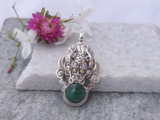 Malachite Stone Silver Pendant-Dragon Head Pendant - nepacrafts