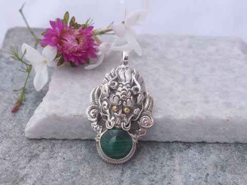 Malachite Stone Silver Pendant-Dragon Head Pendant