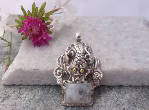 Sterling Silver Dragon Tibetan Pendant with Crystal Quartz - NepaCrafts