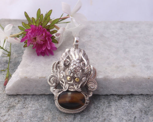 Dragon Head Tiger Eye Sterling Silver Pendant - nepacrafts