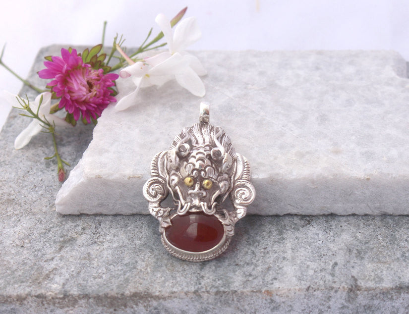 Garnet Pendant made of Silver-Dragon Head Inlaid with Stone - nepacrafts