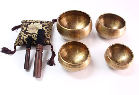 Set of 4 Tibetan Hand Hammered Singing Bowls with Cushion and Sticker - nepacrafts - 1