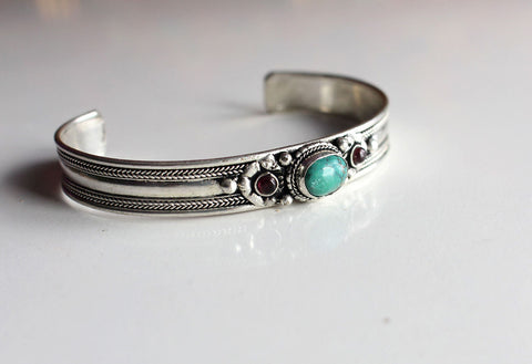 Tibetan Green Turquoise Silver plated Bracelet