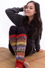 Red Knit Wool Sherpa Legwarmers - NepaCrafts