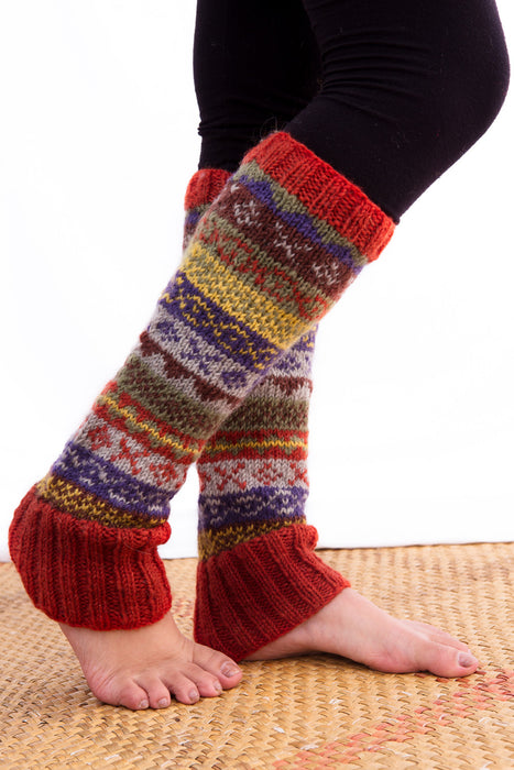 Red Knit Wool Sherpa Legwarmers