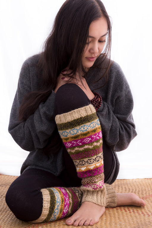 Handknitted Woolen Sherpa Legwarmer Brown Multicolor