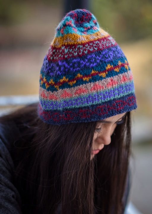 HandKnit Blue Winter Sherpa Cap - nepacrafts