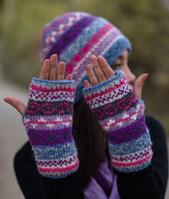Light Blue Multicolored Pure Woolen Hand Warmers or Texting Gloves with Inner Fleece WO58HW - nepacrafts - 2